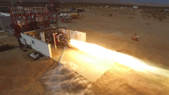 ภาพการทดสอบเครื่องยนต์จรวด LauncherOne ที่มาของภาพ : www.virgingalactic.com
